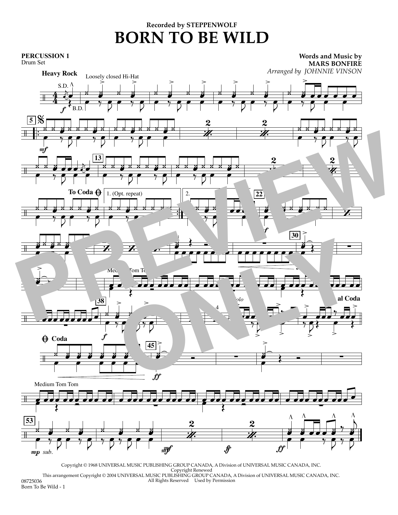 Johnnie Vinson Born to Be Wild - Percussion 1 sheet music preview music notes and score for Concert Band including 1 page(s)