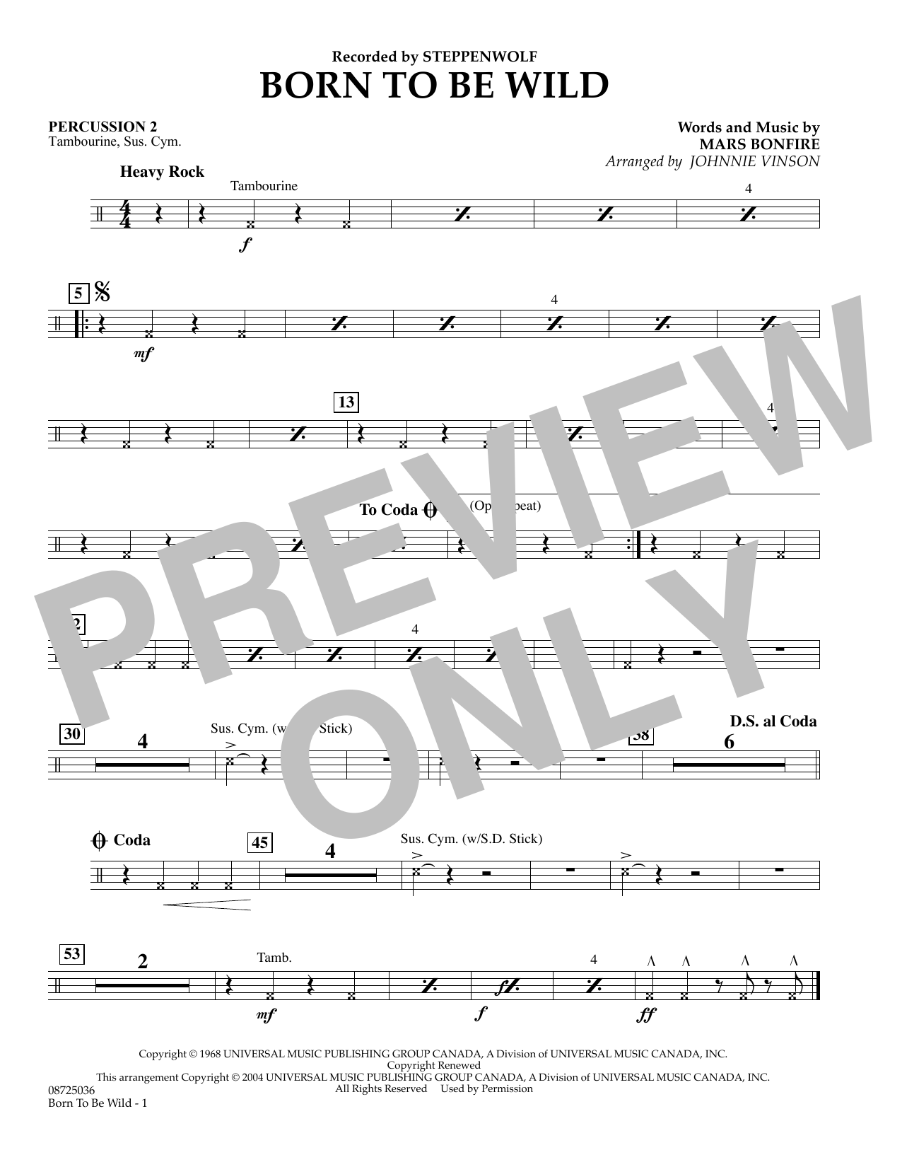 Johnnie Vinson Born to Be Wild - Percussion 2 sheet music preview music notes and score for Concert Band including 1 page(s)