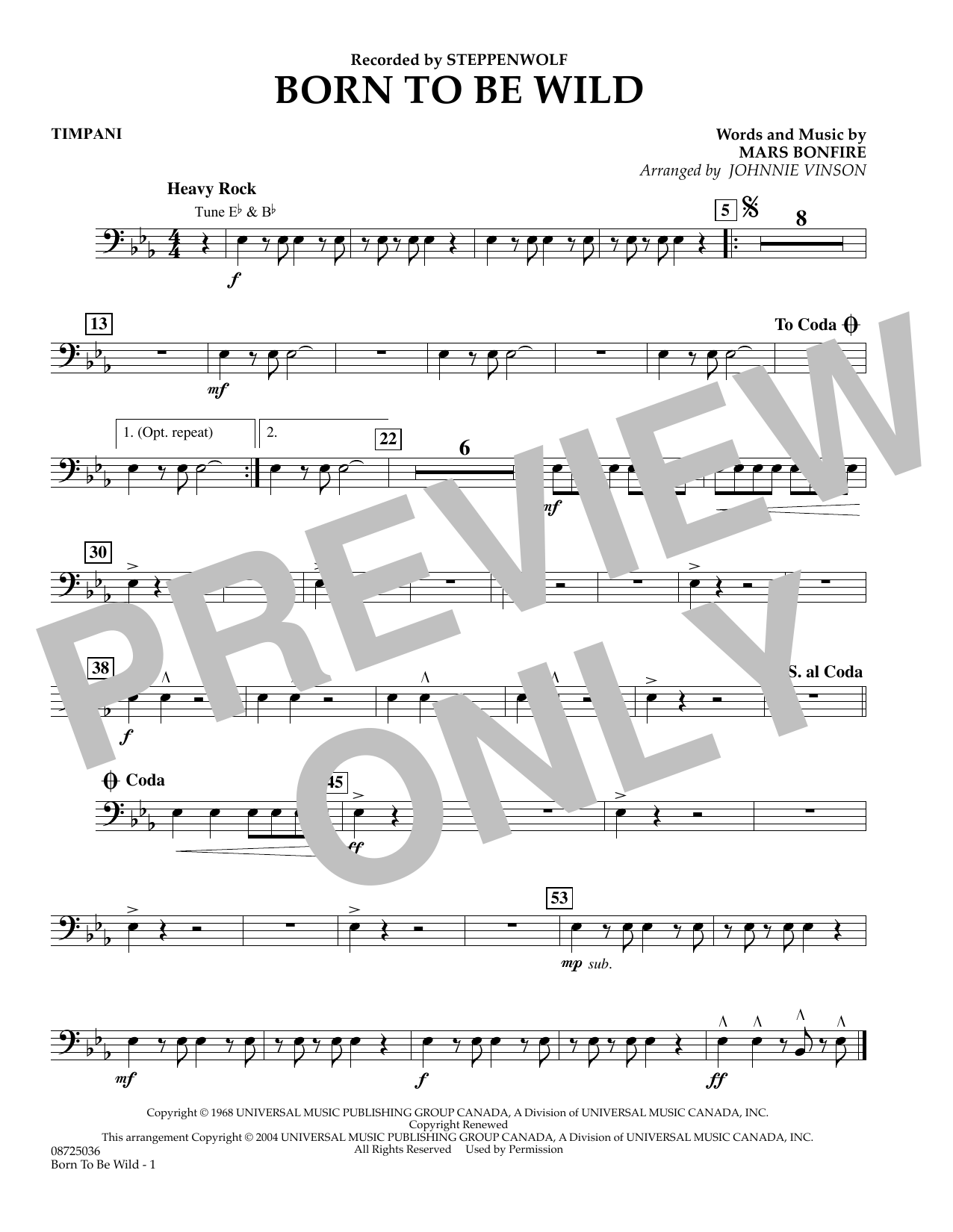 Johnnie Vinson Born to Be Wild - Timpani sheet music preview music notes and score for Concert Band including 1 page(s)