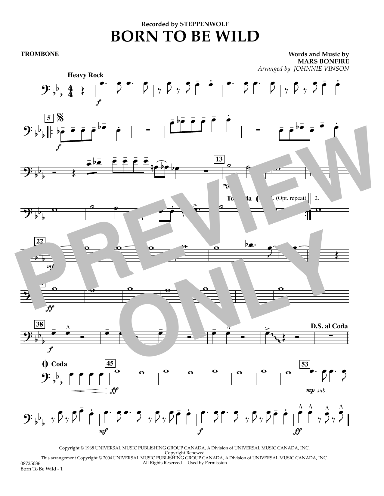 Johnnie Vinson Born to Be Wild - Trombone sheet music preview music notes and score for Concert Band including 1 page(s)