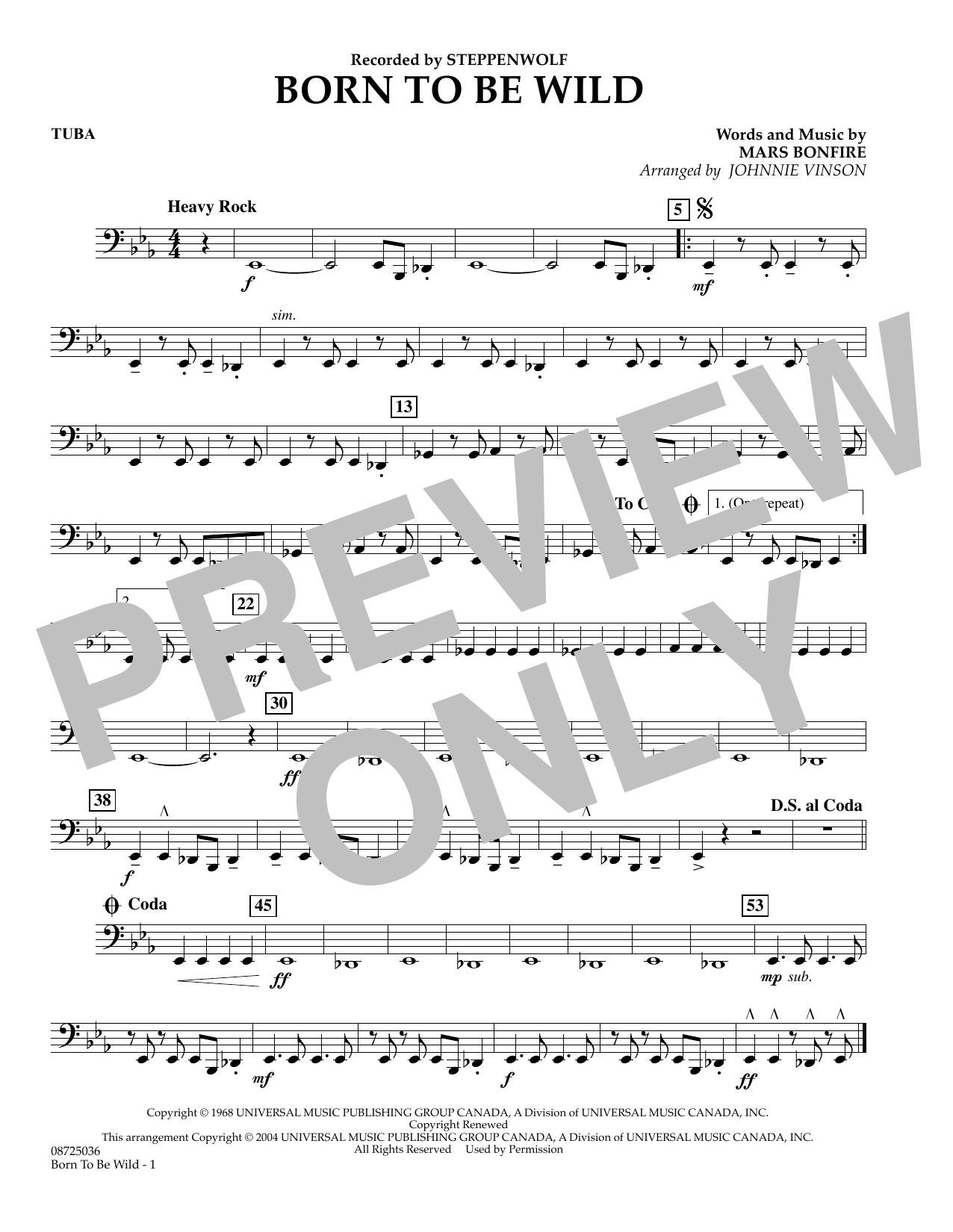 Johnnie Vinson Born to Be Wild - Tuba sheet music preview music notes and score for Concert Band including 1 page(s)