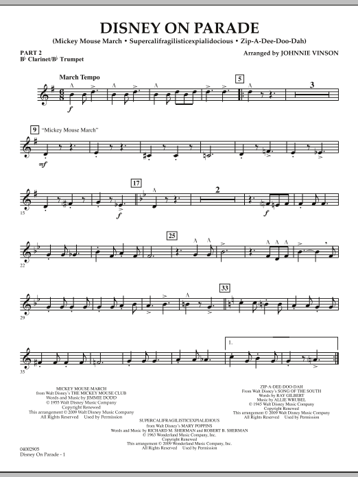 Download Johnnie Vinson 'Disney on Parade - Pt.2 - Bb Clarinet/Bb Trumpet' Digital Sheet Music Notes & Chords and start playing in minutes