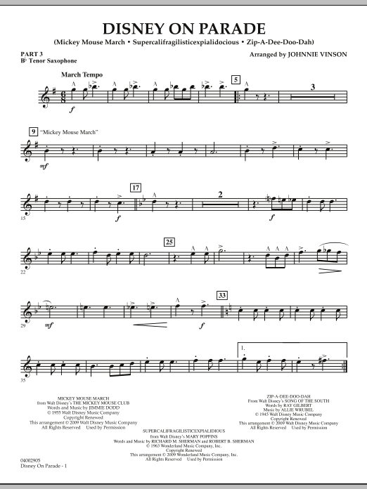 Download Johnnie Vinson 'Disney on Parade - Pt.3 - Bb Tenor Saxophone' Digital Sheet Music Notes & Chords and start playing in minutes