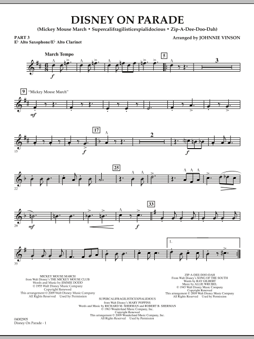 Download Johnnie Vinson 'Disney on Parade - Pt.3 - Eb Alto Sax/Alto Clar.' Digital Sheet Music Notes & Chords and start playing in minutes