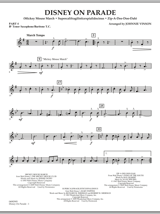 Download Johnnie Vinson 'Disney on Parade - Pt.4 - Bb Tenor Sax/Bar. T.C.' Digital Sheet Music Notes & Chords and start playing in minutes