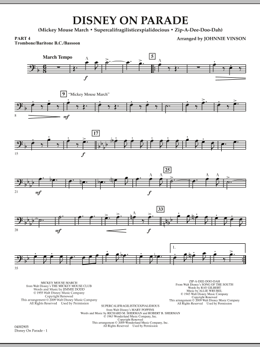 Download Johnnie Vinson 'Disney on Parade - Pt.4 - Trombone/Bar. B.C./Bsn.' Digital Sheet Music Notes & Chords and start playing in minutes