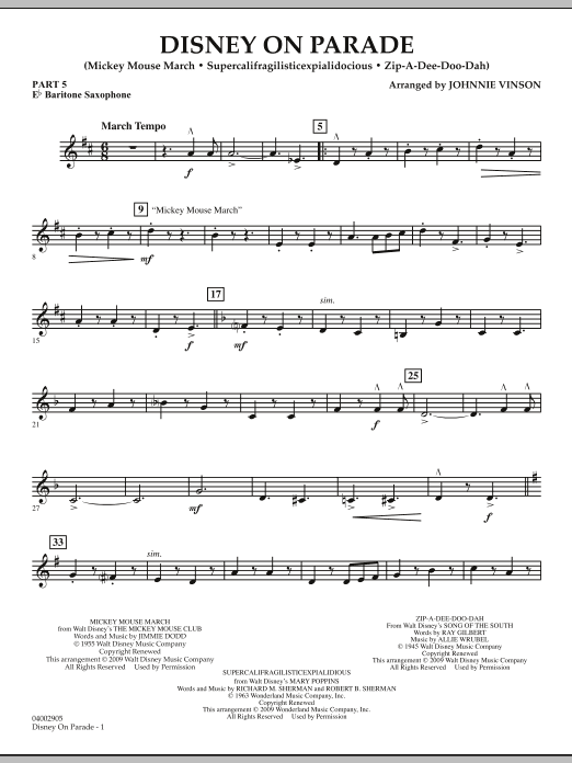 Download Johnnie Vinson 'Disney on Parade - Pt.5 - Eb Baritone Saxophone' Digital Sheet Music Notes & Chords and start playing in minutes