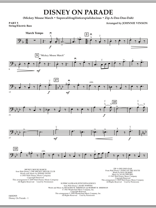 Download Johnnie Vinson 'Disney on Parade - Pt.5 - String/Electric Bass' Digital Sheet Music Notes & Chords and start playing in minutes