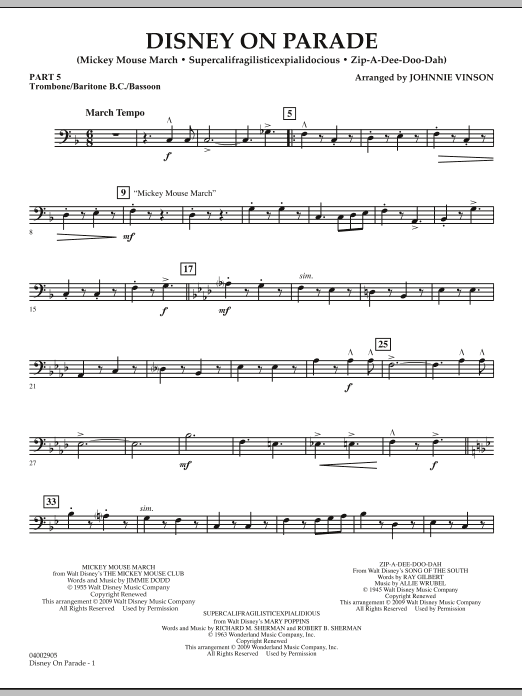 Download Johnnie Vinson 'Disney on Parade - Pt.5 - Trombone/Bar. B.C./Bsn.' Digital Sheet Music Notes & Chords and start playing in minutes