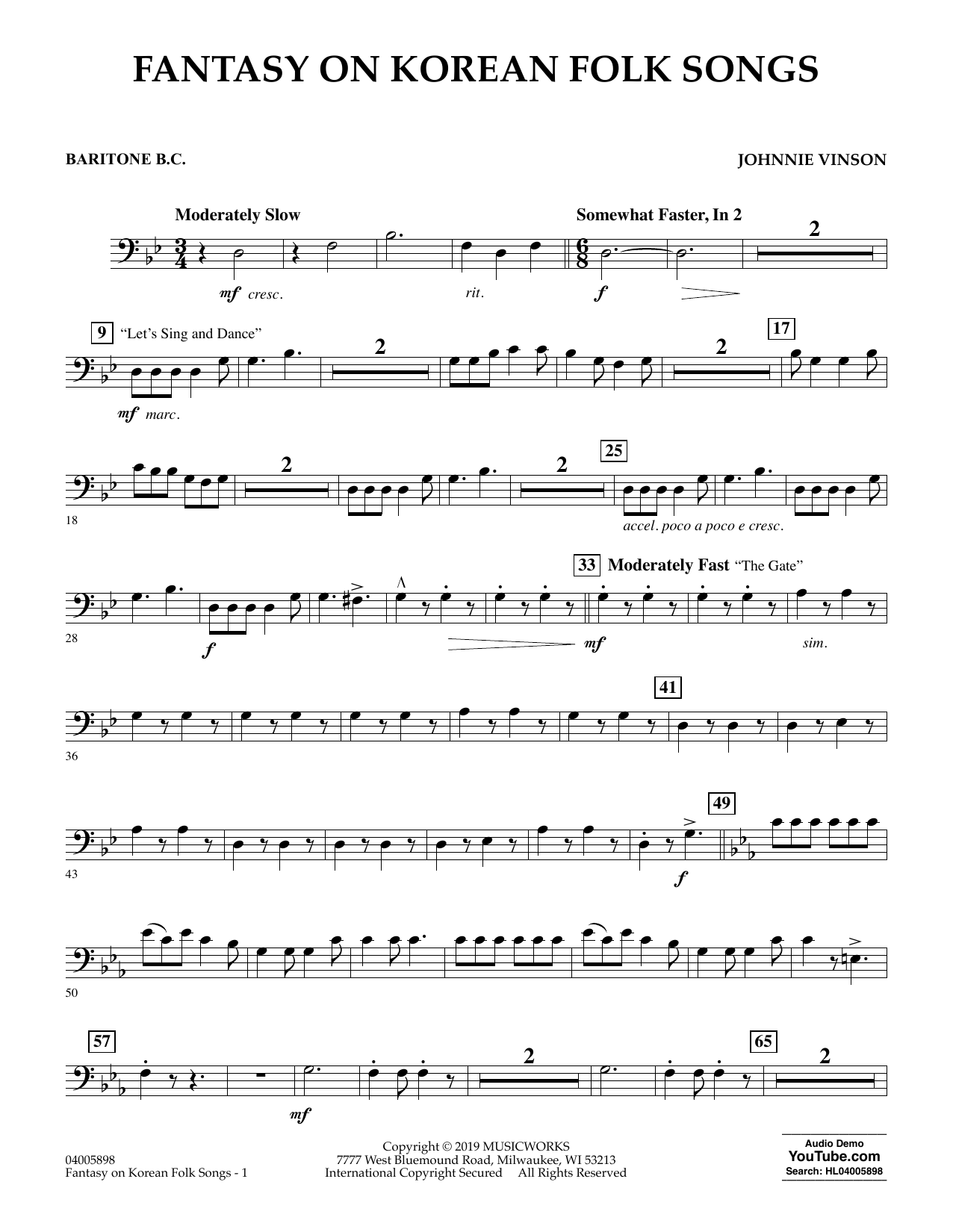 Johnnie Vinson Fantasy on Korean Folk Songs - Baritone B.C. sheet music preview music notes and score for Concert Band including 2 page(s)