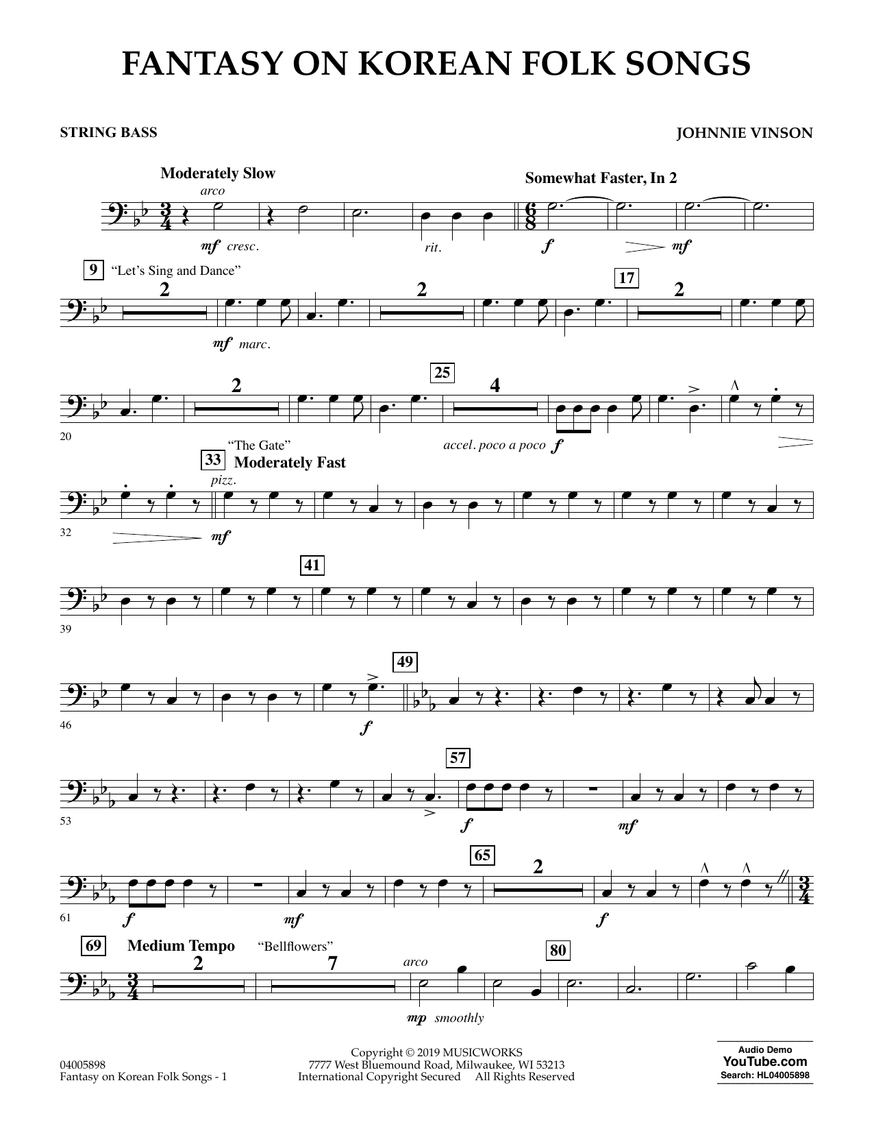 Johnnie Vinson Fantasy on Korean Folk Songs - Bass sheet music preview music notes and score for Concert Band including 2 page(s)
