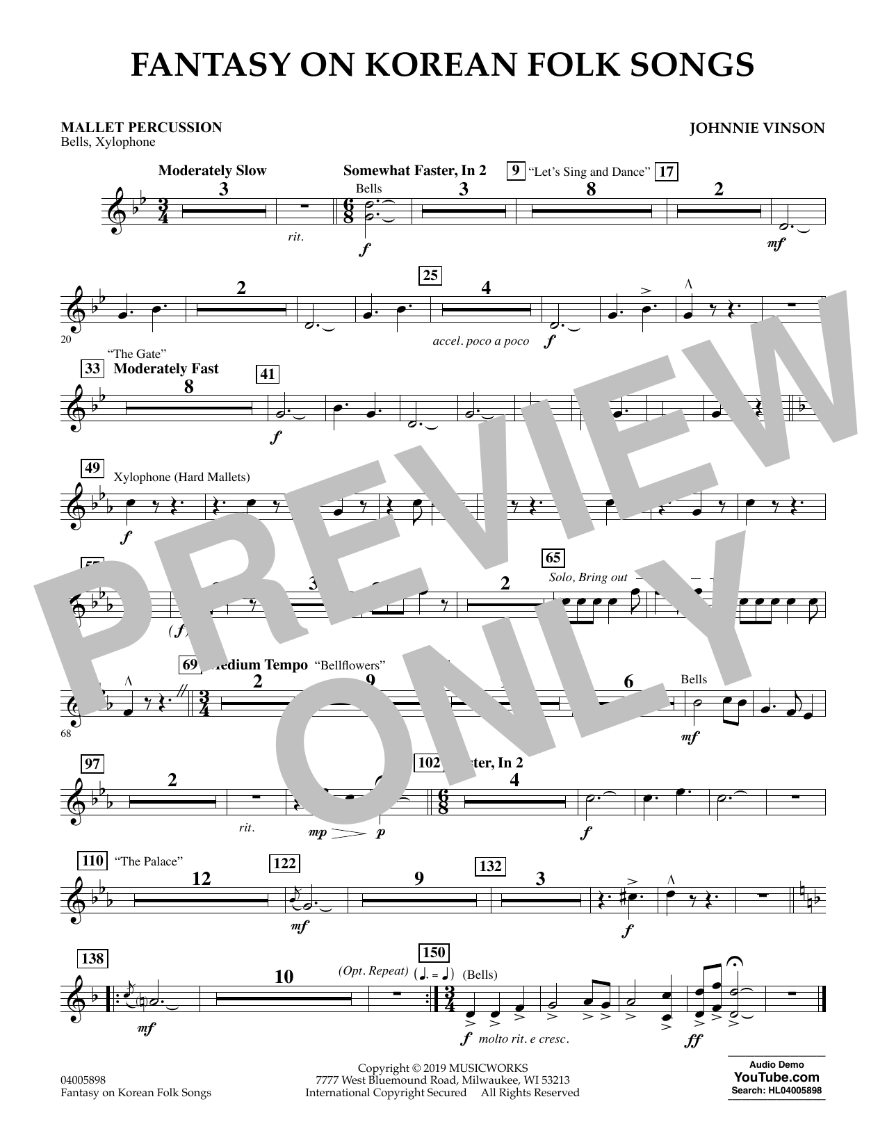 Johnnie Vinson Fantasy on Korean Folk Songs - Mallet Percussion sheet music preview music notes and score for Concert Band including 1 page(s)