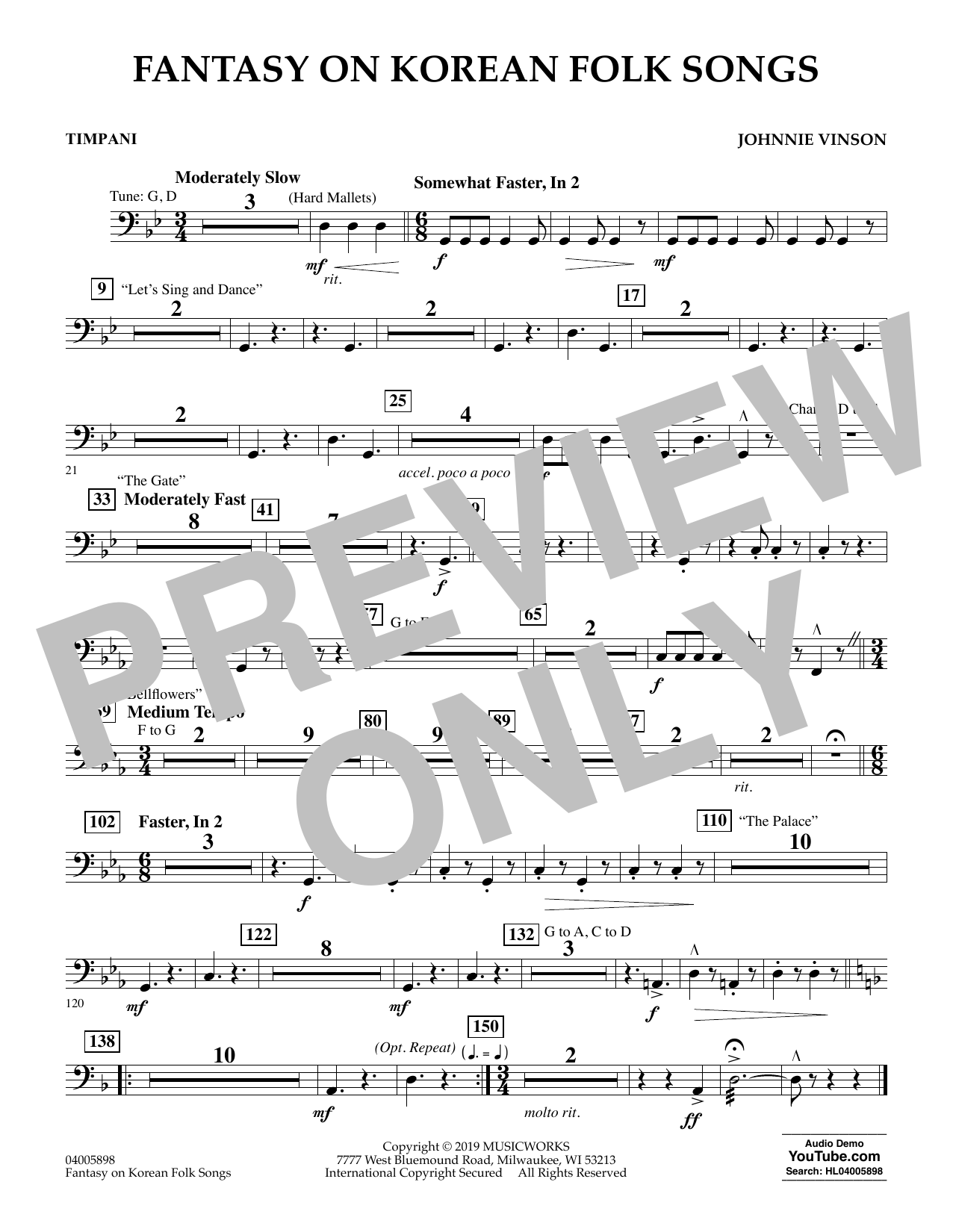 Johnnie Vinson Fantasy on Korean Folk Songs - Timpani sheet music preview music notes and score for Concert Band including 1 page(s)