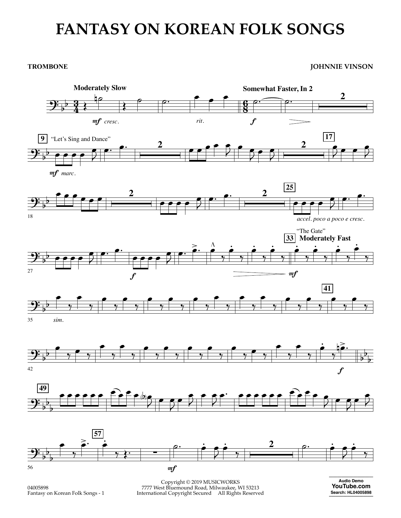 Johnnie Vinson Fantasy on Korean Folk Songs - Trombone sheet music preview music notes and score for Concert Band including 2 page(s)