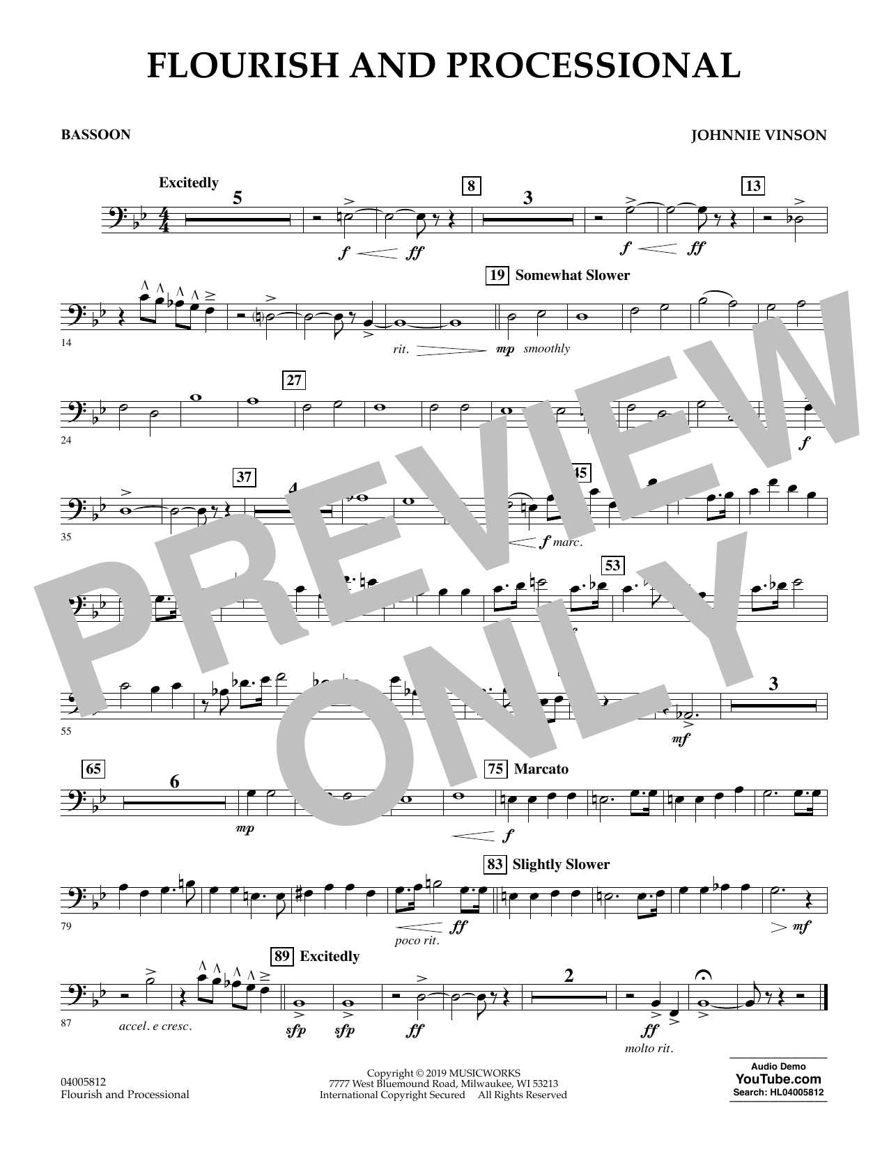 Johnnie Vinson Flourish and Processional - Bassoon sheet music preview music notes and score for Concert Band including 1 page(s)