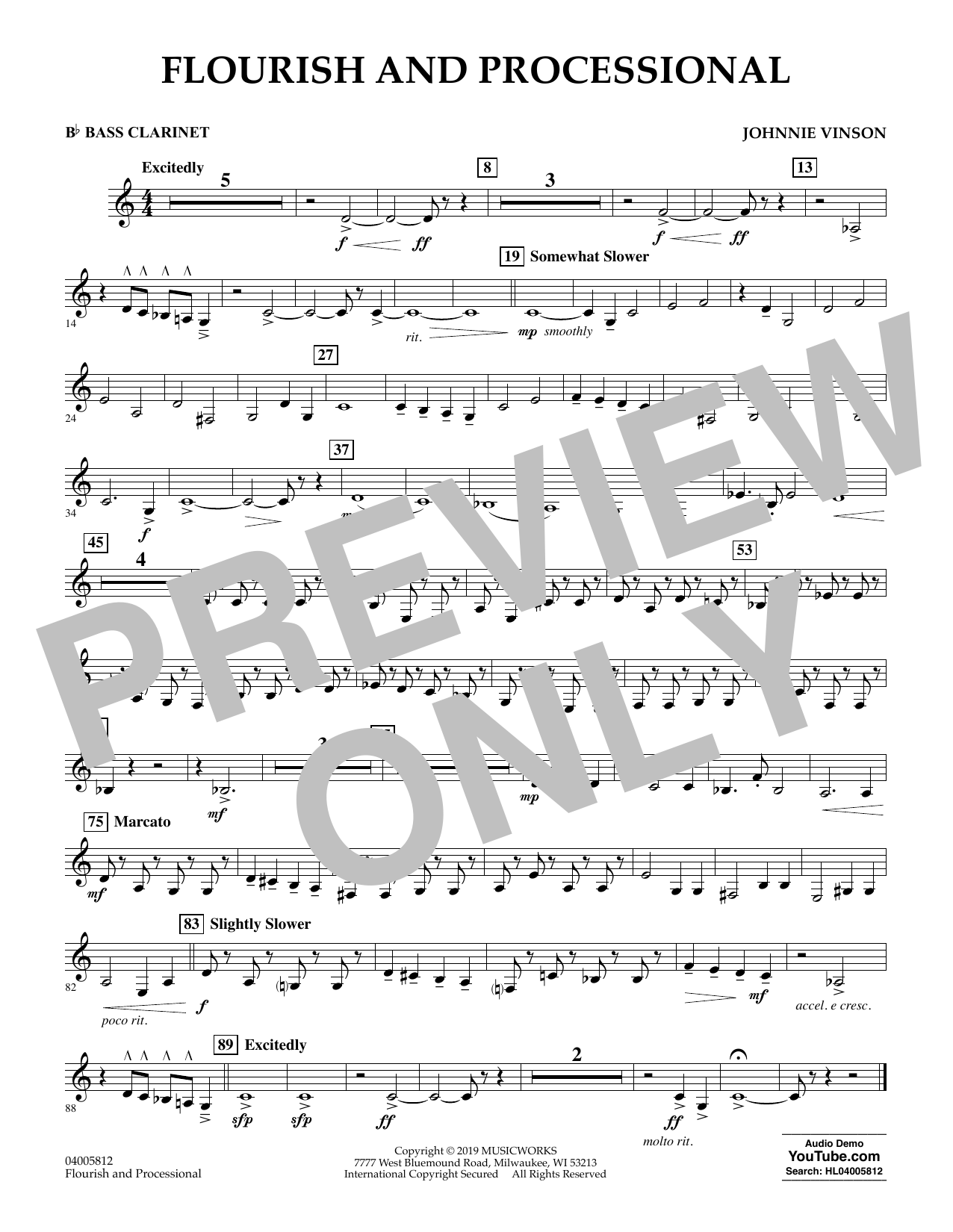 Johnnie Vinson Flourish and Processional - Bb Bass Clarinet sheet music preview music notes and score for Concert Band including 1 page(s)