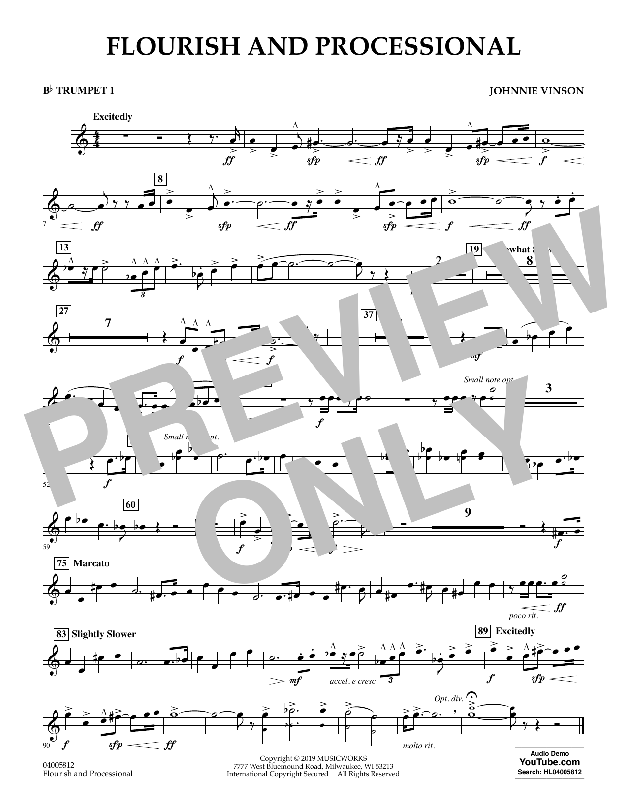 Johnnie Vinson Flourish and Processional - Bb Trumpet 1 sheet music preview music notes and score for Concert Band including 1 page(s)