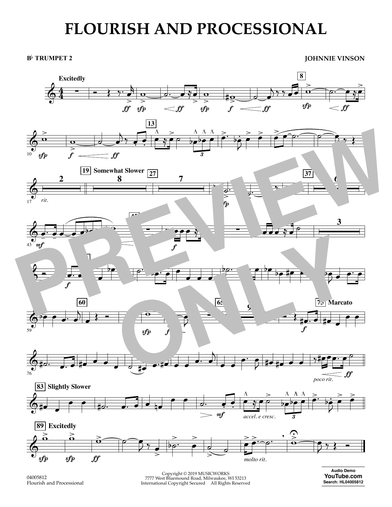 Johnnie Vinson Flourish and Processional - Bb Trumpet 2 sheet music preview music notes and score for Concert Band including 1 page(s)