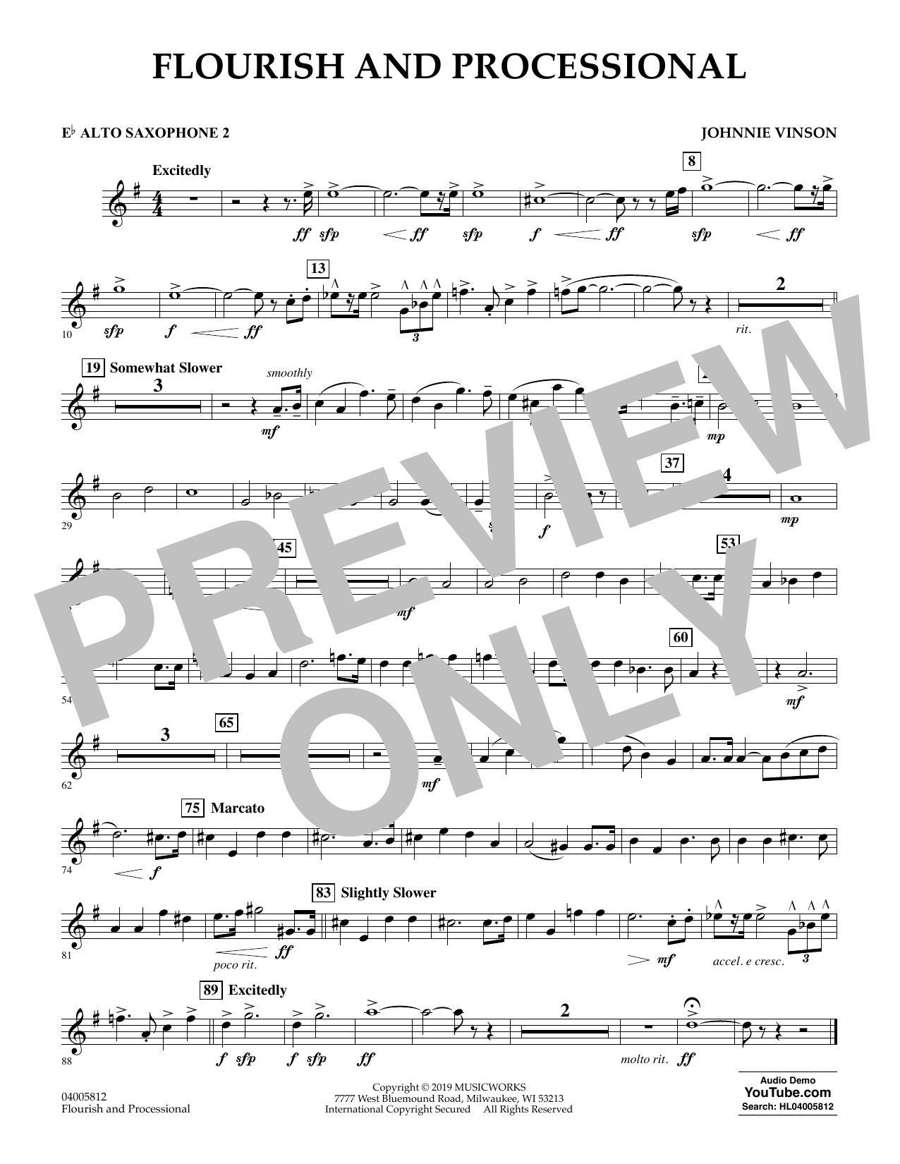 Johnnie Vinson Flourish and Processional - Eb Alto Saxophone 2 sheet music preview music notes and score for Concert Band including 1 page(s)
