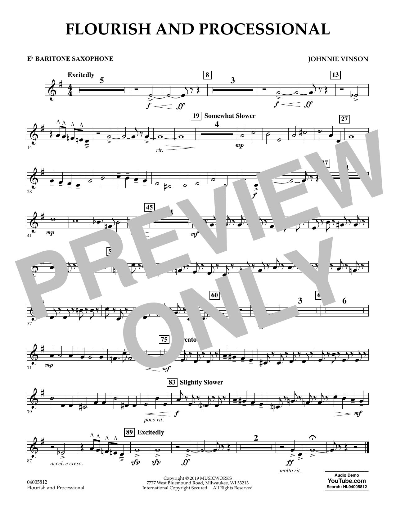 Johnnie Vinson Flourish and Processional - Eb Baritone Saxophone sheet music preview music notes and score for Concert Band including 1 page(s)