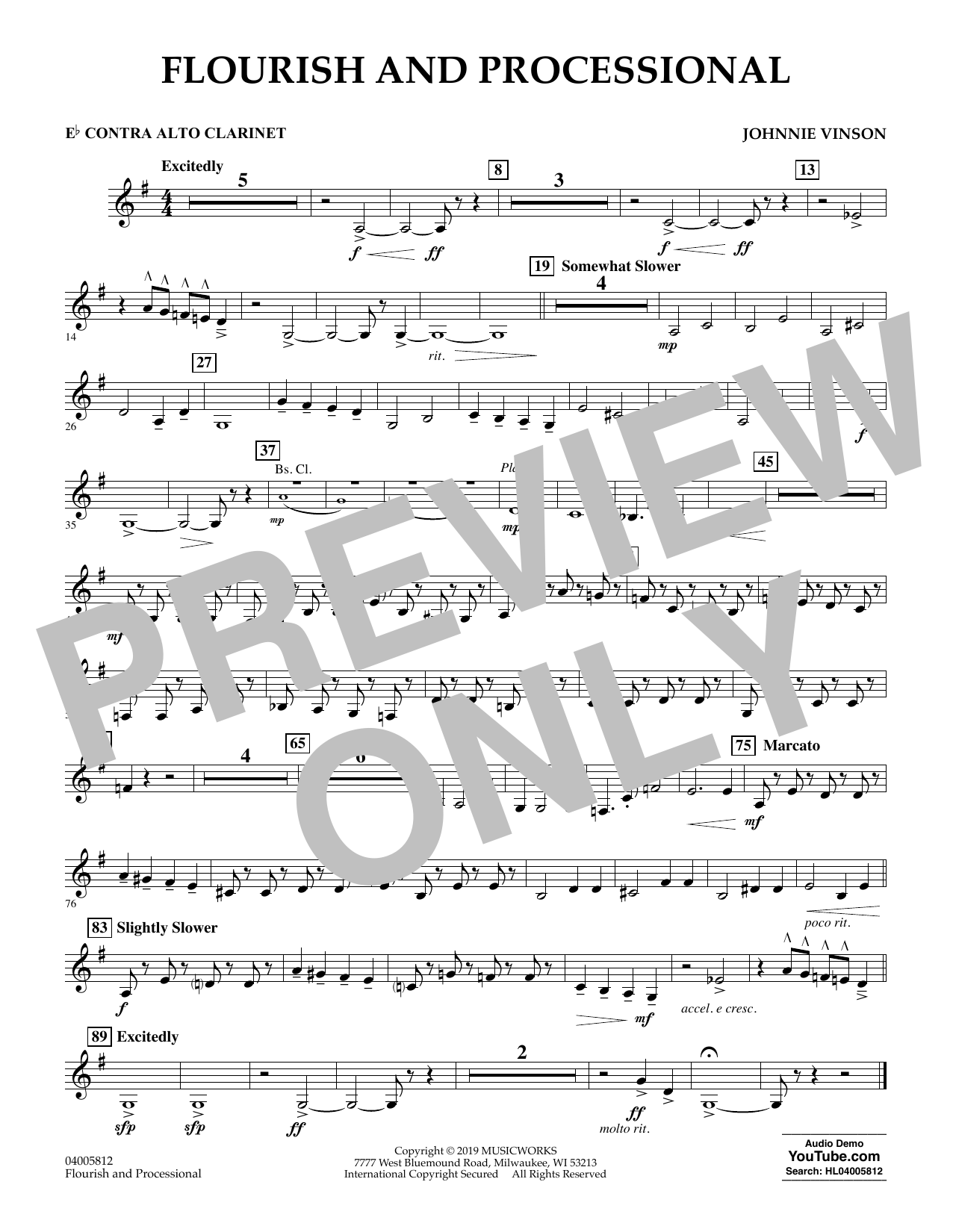 Johnnie Vinson Flourish and Processional - Eb Contra Alto Clarinet sheet music preview music notes and score for Concert Band including 1 page(s)