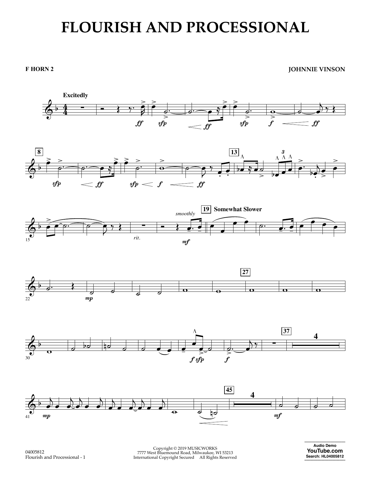 Johnnie Vinson Flourish and Processional - F Horn 2 sheet music preview music notes and score for Concert Band including 2 page(s)