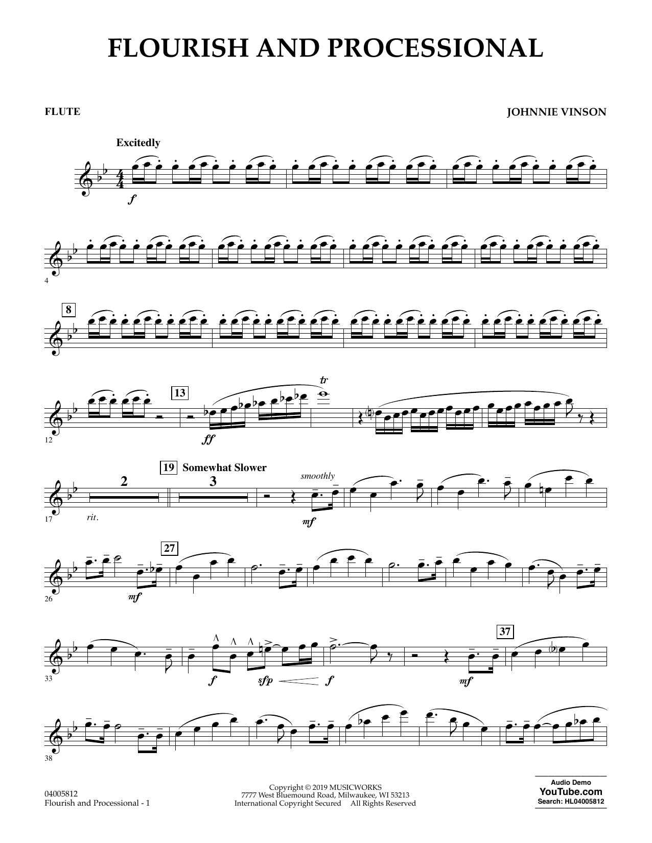 Johnnie Vinson Flourish and Processional - Flute sheet music preview music notes and score for Concert Band including 2 page(s)