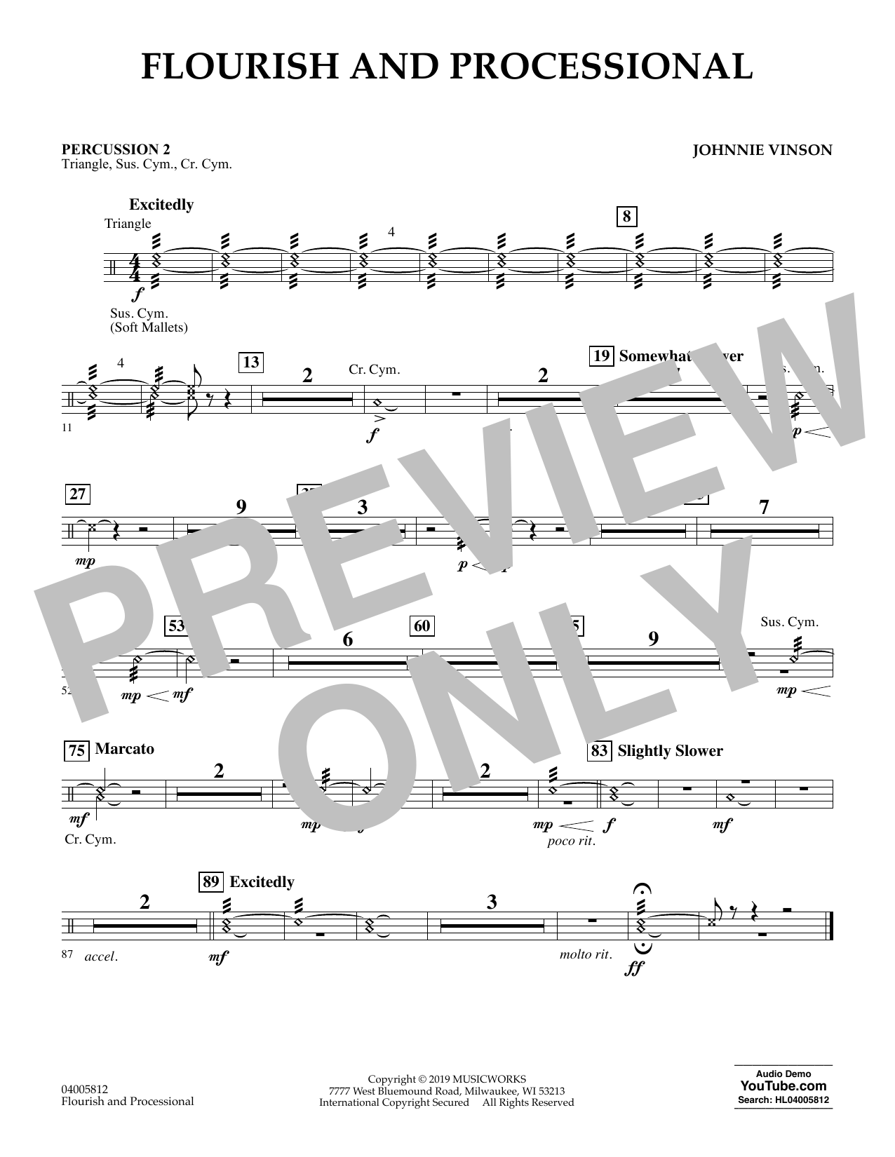 Johnnie Vinson Flourish and Processional - Percussion 2 sheet music preview music notes and score for Concert Band including 1 page(s)