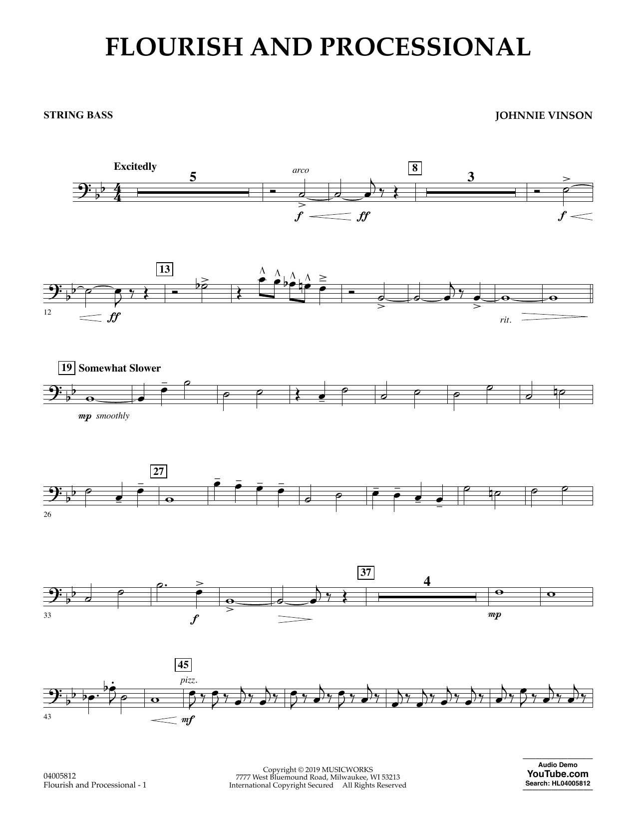 Johnnie Vinson Flourish and Processional - String Bass sheet music preview music notes and score for Concert Band including 2 page(s)