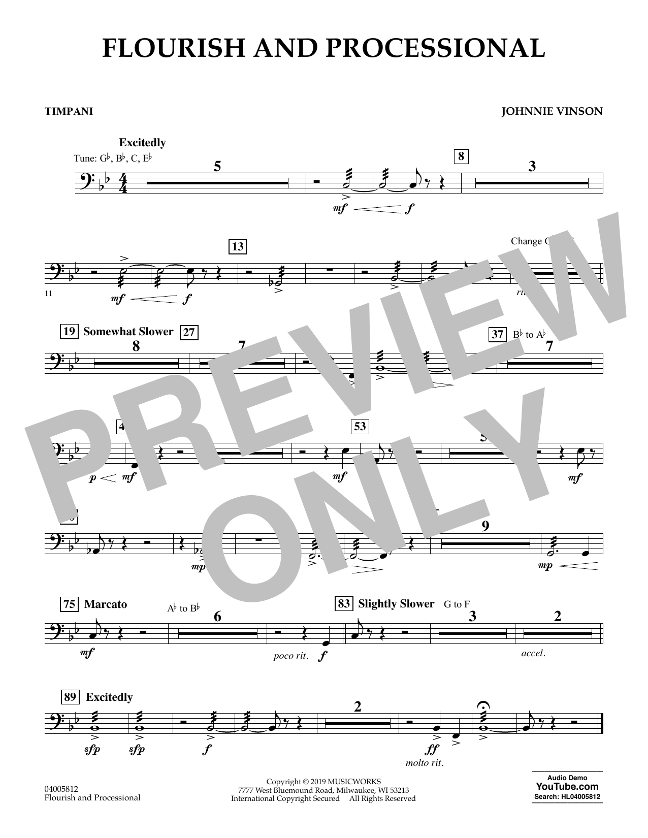 Johnnie Vinson Flourish and Processional - Timpani sheet music preview music notes and score for Concert Band including 1 page(s)