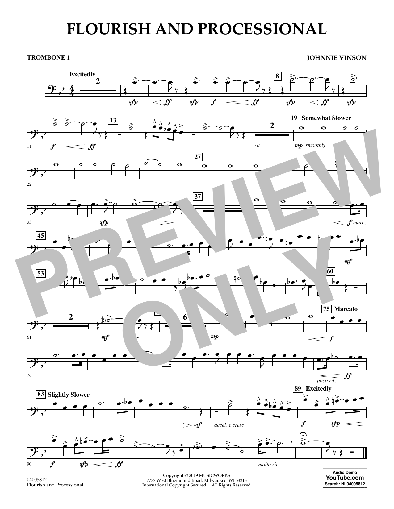 Johnnie Vinson Flourish and Processional - Trombone 1 sheet music preview music notes and score for Concert Band including 1 page(s)
