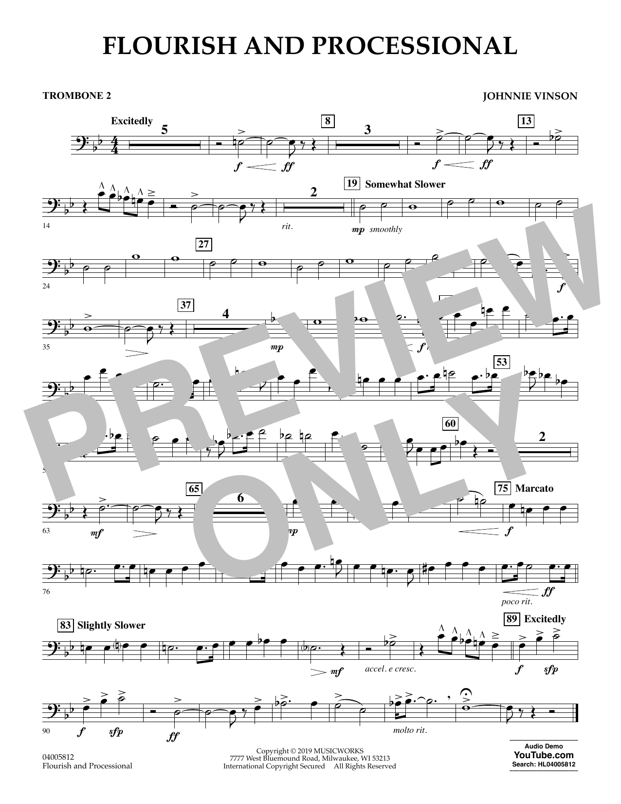 Johnnie Vinson Flourish and Processional - Trombone 2 sheet music preview music notes and score for Concert Band including 1 page(s)