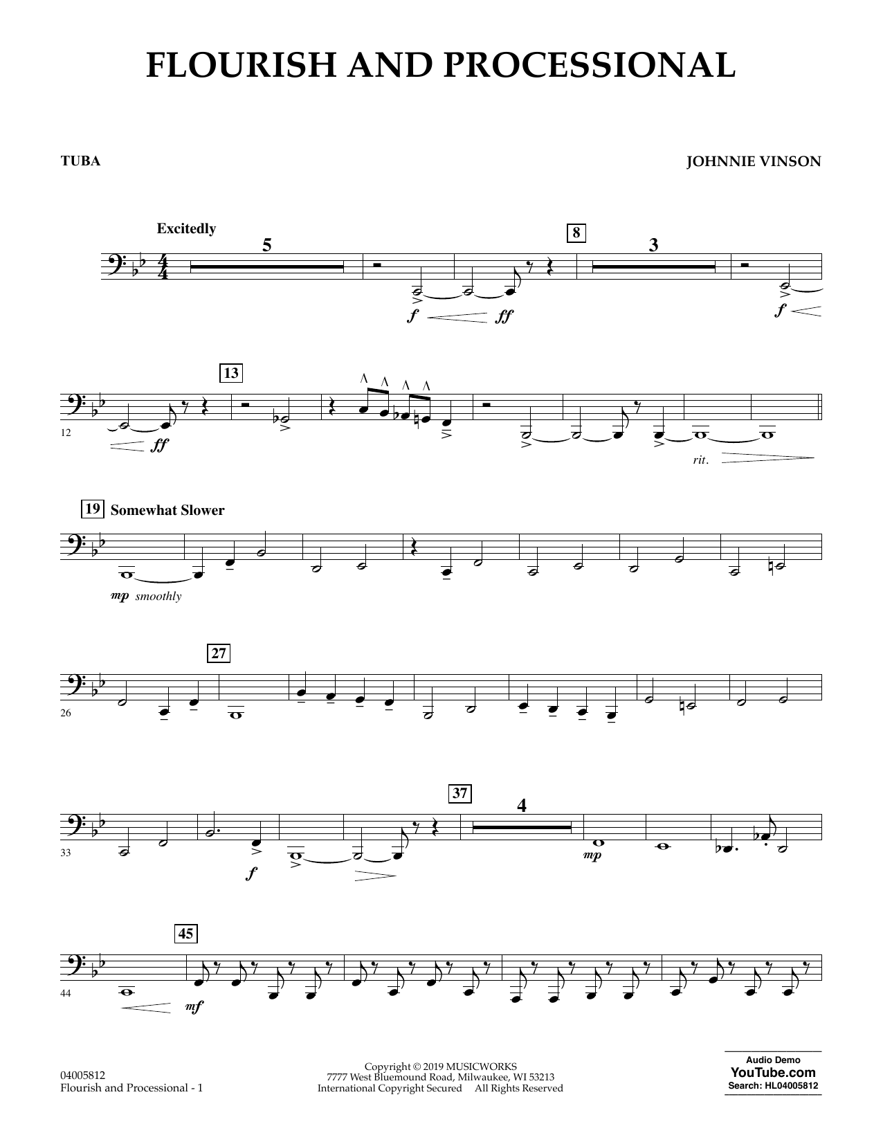 Johnnie Vinson Flourish and Processional - Tuba sheet music preview music notes and score for Concert Band including 2 page(s)