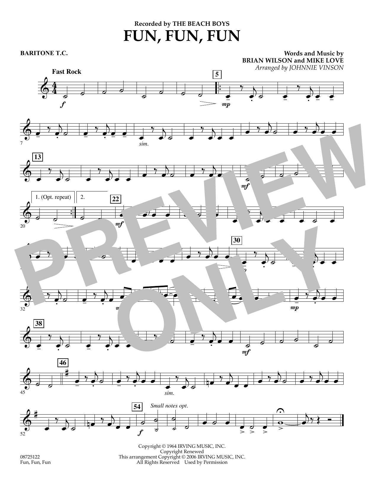 Johnnie Vinson Fun, Fun, Fun - Baritone T.C. sheet music preview music notes and score for Concert Band including 1 page(s)
