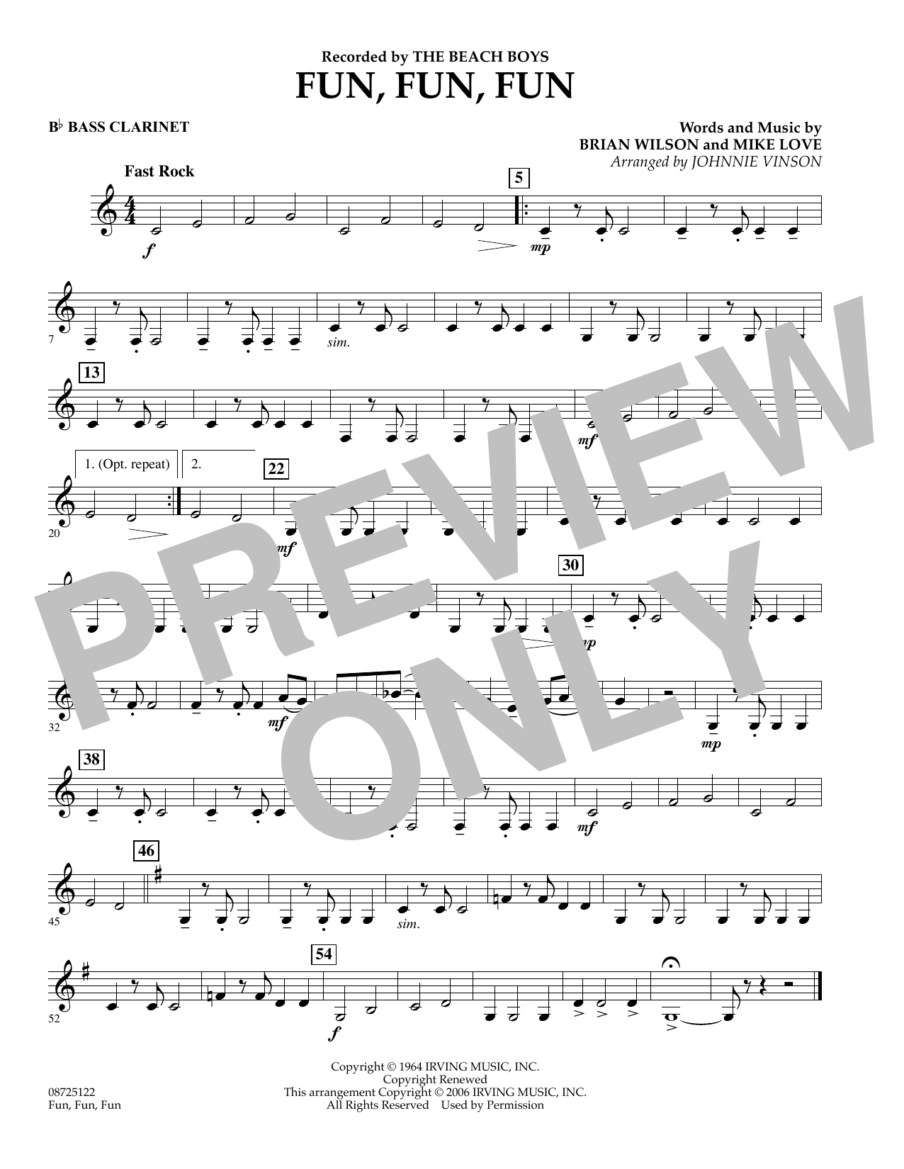 Johnnie Vinson Fun, Fun, Fun - Bb Bass Clarinet sheet music preview music notes and score for Concert Band including 1 page(s)