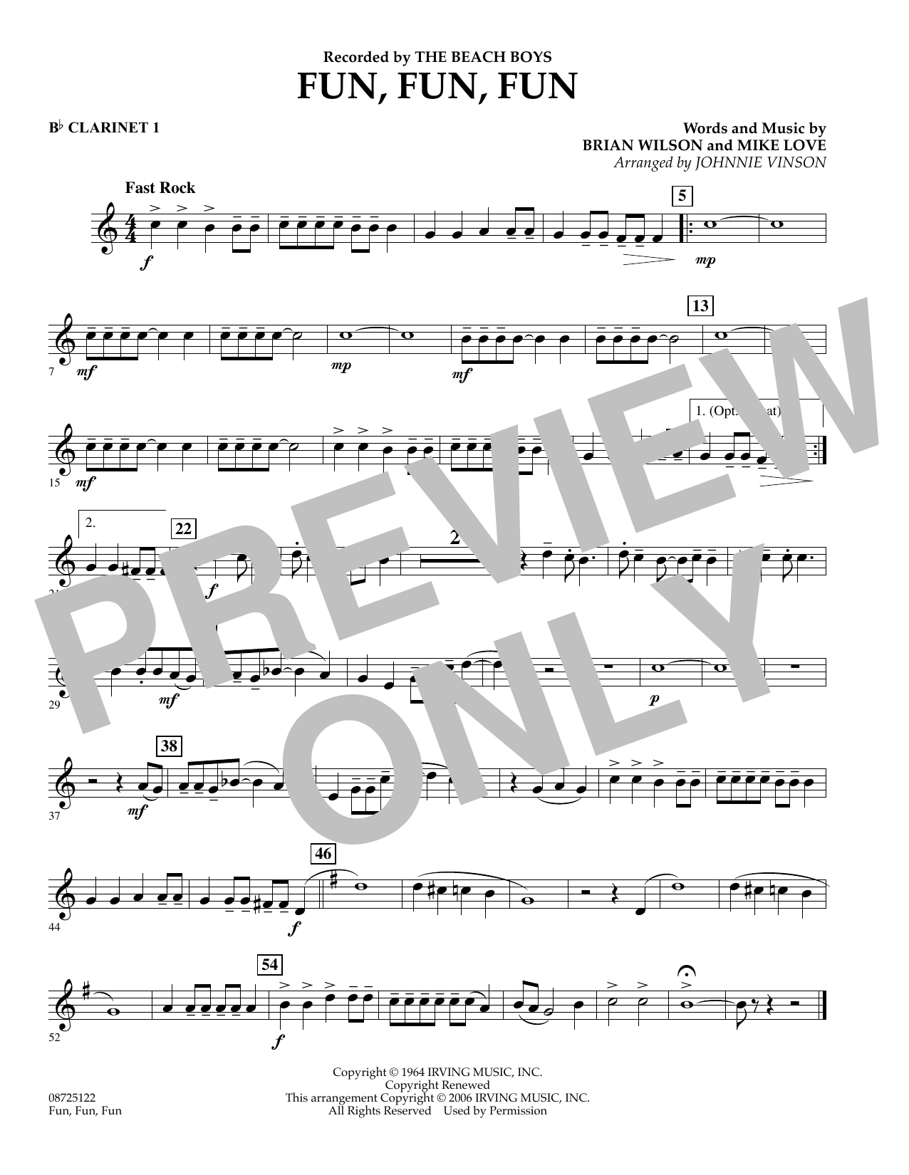 Johnnie Vinson Fun, Fun, Fun - Bb Clarinet 1 sheet music preview music notes and score for Concert Band including 1 page(s)