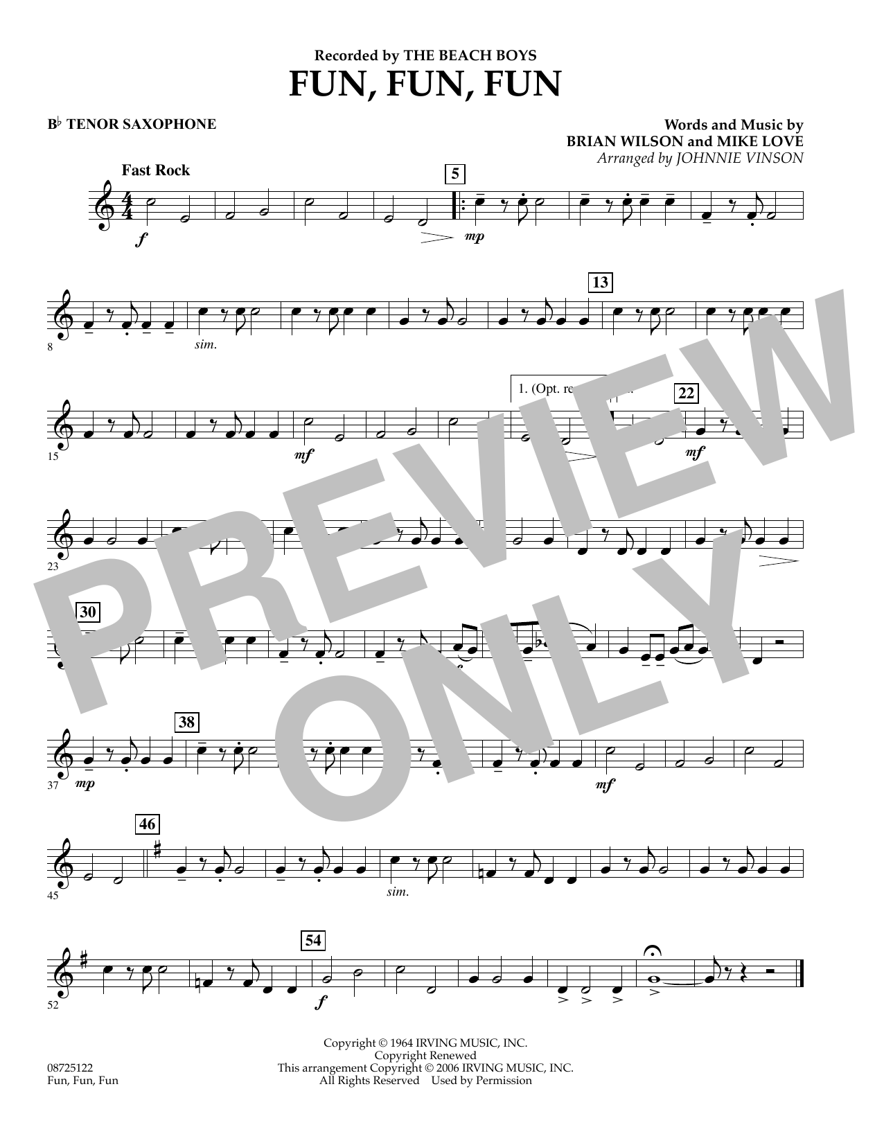 Johnnie Vinson Fun, Fun, Fun - Bb Tenor Saxophone sheet music preview music notes and score for Concert Band including 1 page(s)