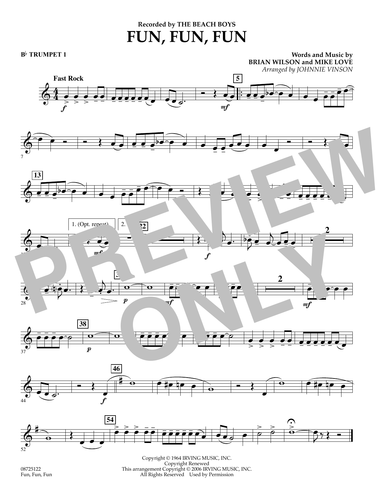 Johnnie Vinson Fun, Fun, Fun - Bb Trumpet 1 sheet music preview music notes and score for Concert Band including 1 page(s)