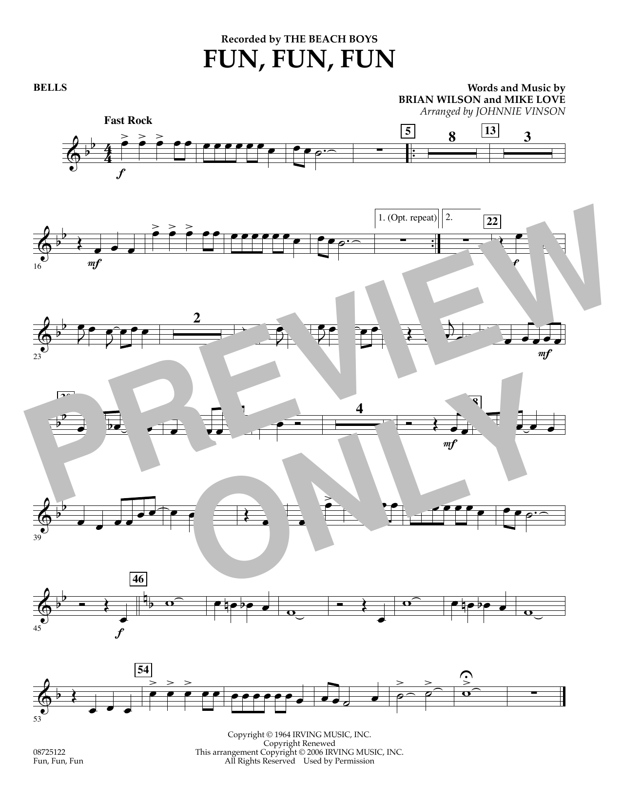 Johnnie Vinson Fun, Fun, Fun - Bells sheet music preview music notes and score for Concert Band including 1 page(s)