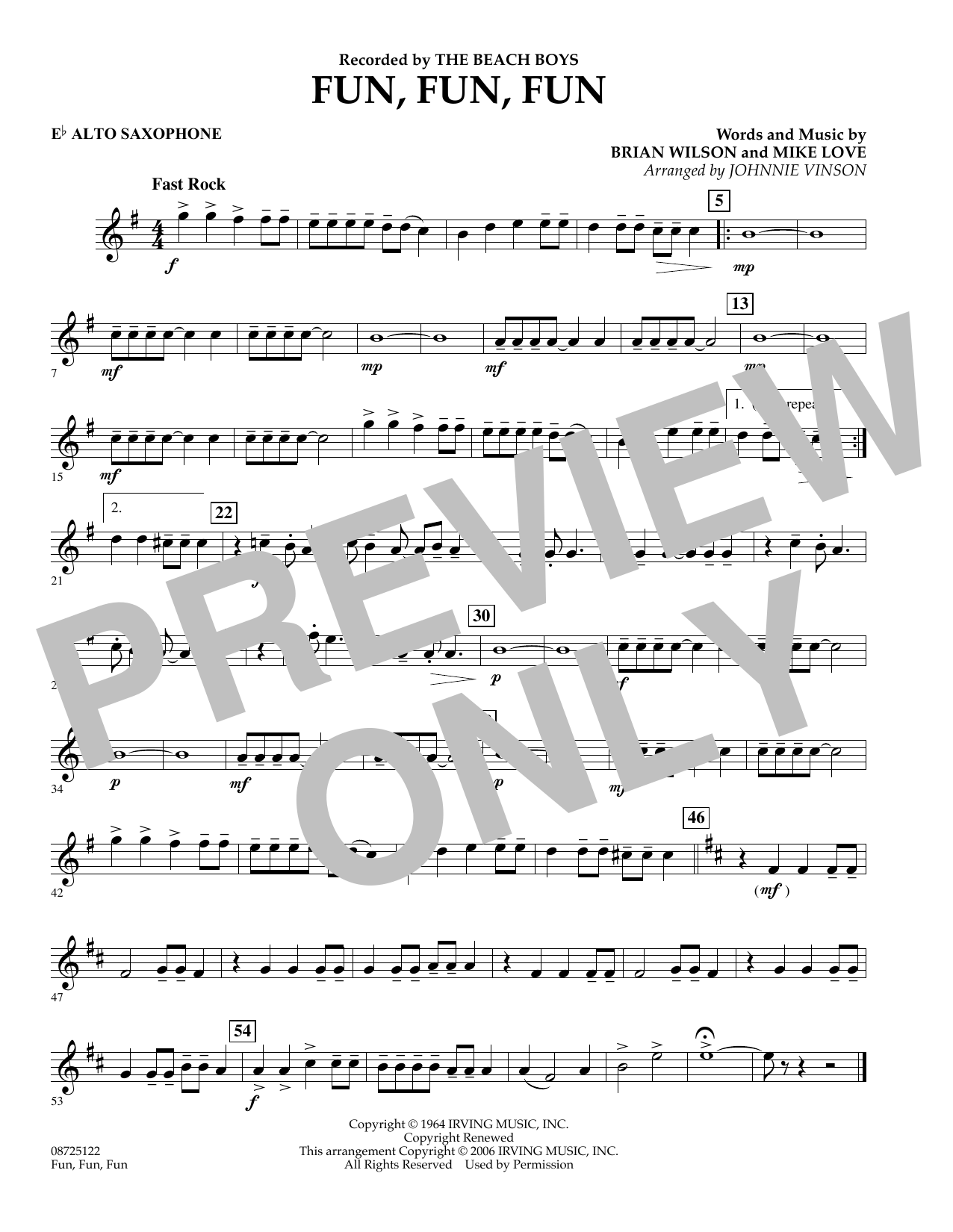 Johnnie Vinson Fun, Fun, Fun - Eb Alto Saxophone sheet music preview music notes and score for Concert Band including 1 page(s)