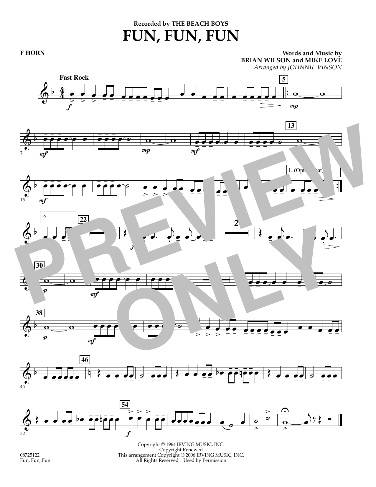 Johnnie Vinson Fun, Fun, Fun - F Horn sheet music preview music notes and score for Concert Band including 1 page(s)