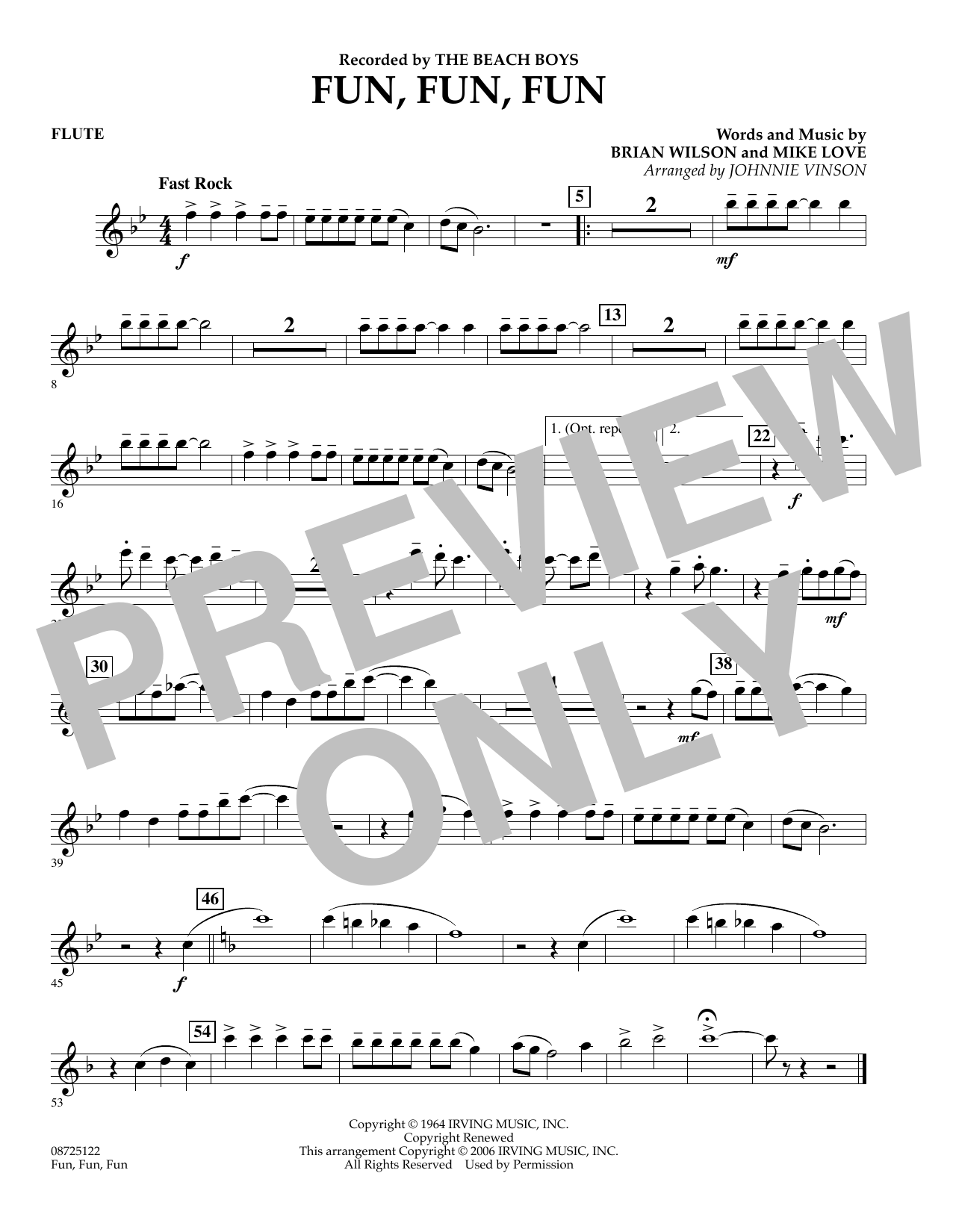 Johnnie Vinson Fun, Fun, Fun - Flute sheet music preview music notes and score for Concert Band including 1 page(s)
