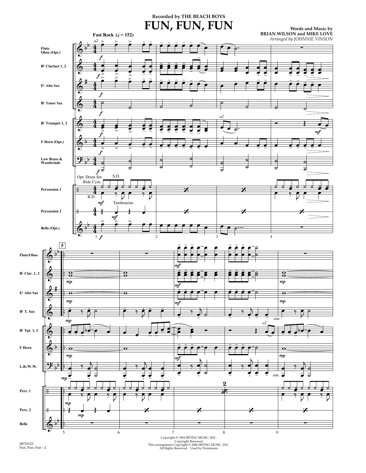 Johnnie Vinson Fun, Fun, Fun - Full Score sheet music preview music notes and score for Concert Band including 6 page(s)