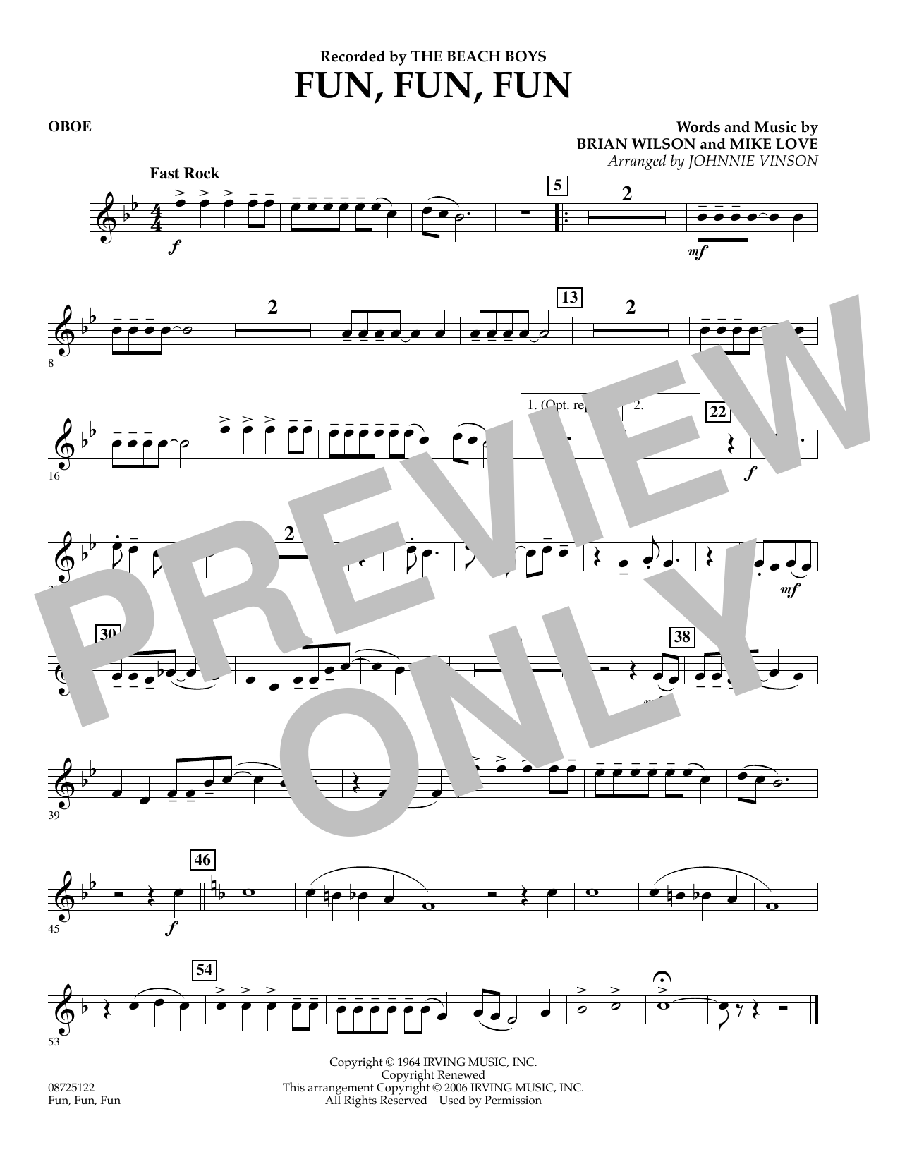 Johnnie Vinson Fun, Fun, Fun - Oboe sheet music preview music notes and score for Concert Band including 1 page(s)