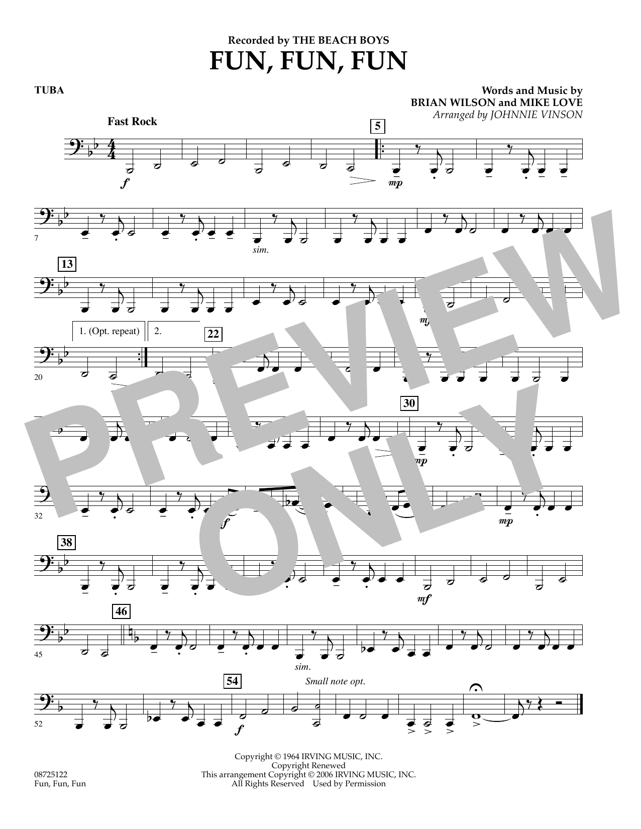 Johnnie Vinson Fun, Fun, Fun - Tuba sheet music preview music notes and score for Concert Band including 1 page(s)