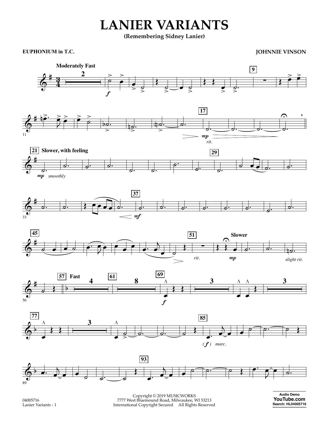 Johnnie Vinson Lanier Variants - Euphonium in Treble Clef sheet music preview music notes and score for Concert Band including 2 page(s)