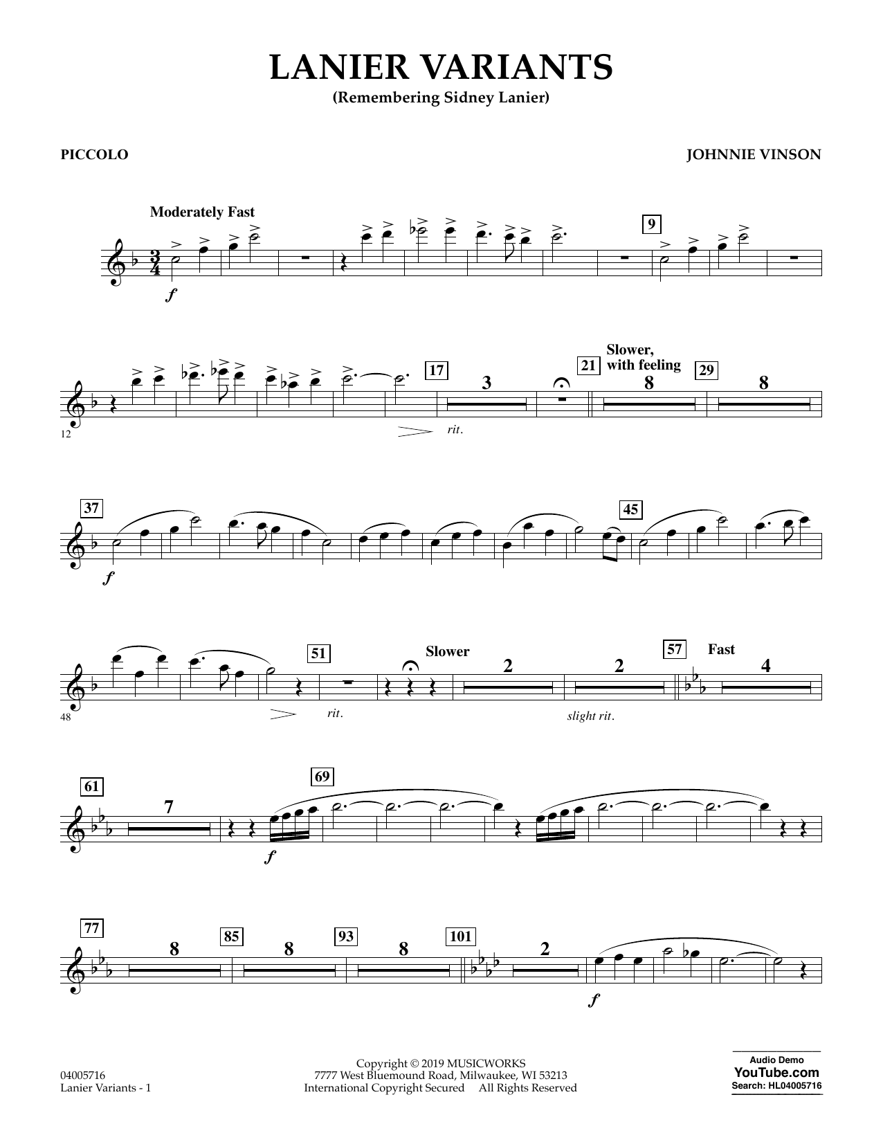Johnnie Vinson Lanier Variants - Piccolo sheet music preview music notes and score for Concert Band including 2 page(s)