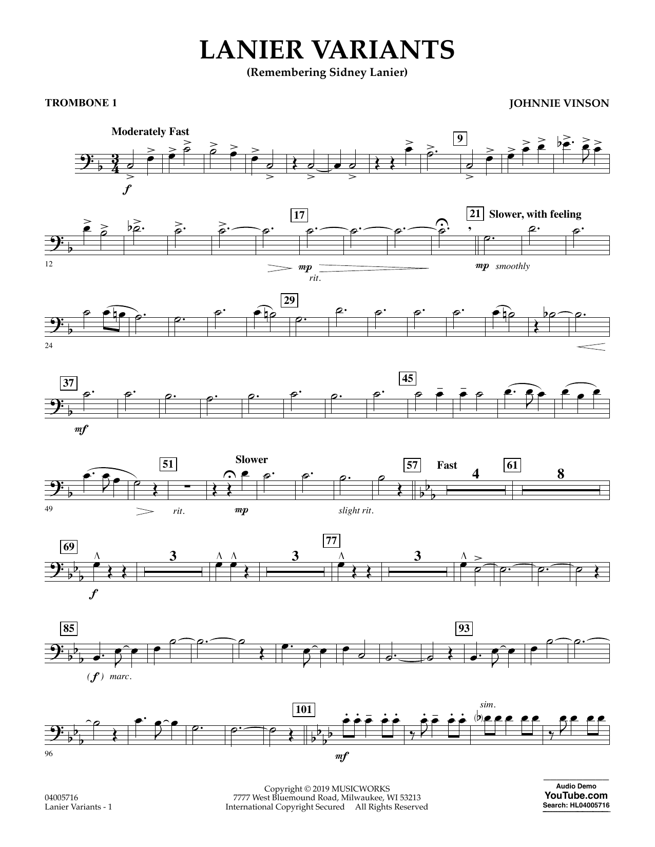 Johnnie Vinson Lanier Variants - Trombone 1 sheet music preview music notes and score for Concert Band including 2 page(s)