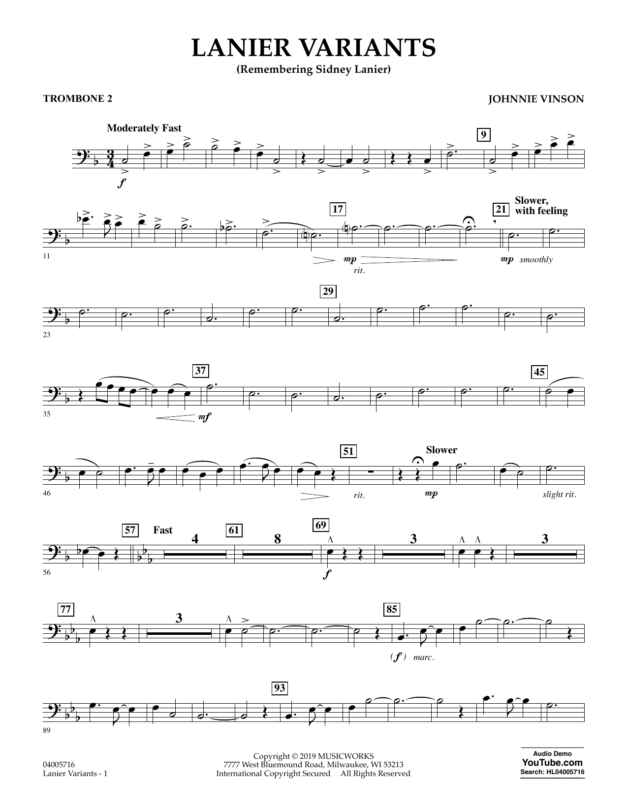 Johnnie Vinson Lanier Variants - Trombone 2 sheet music preview music notes and score for Concert Band including 2 page(s)