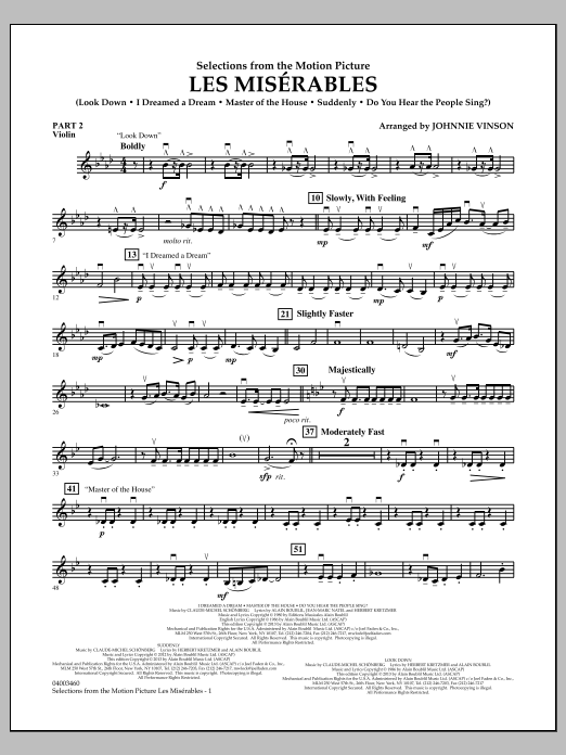 Johnnie Vinson Les Miserables (Selections from the Motion Picture) - Pt.2 - Violin sheet music notes and chords